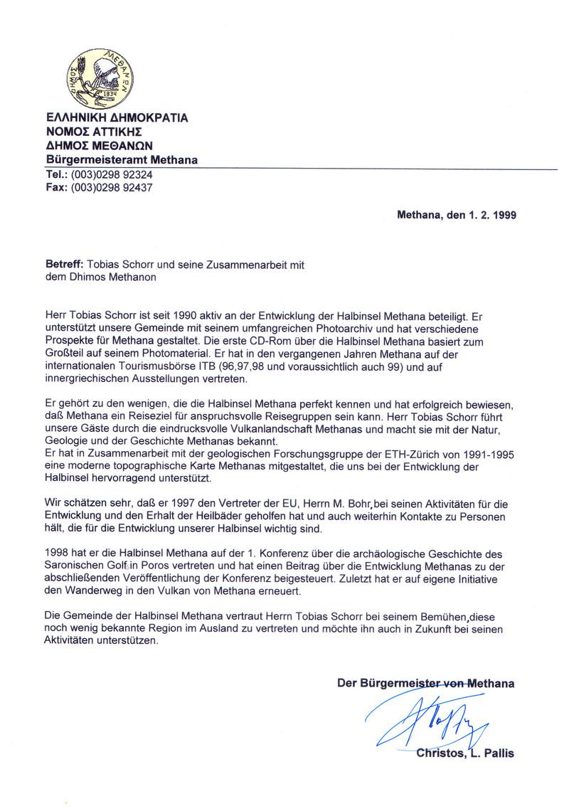 """Mein Nachweis vom Bürgermeister Christos Pallis, dass er meine Aktivitäten für Methana unterstützen würde. Letztendlich nur """"warme Worte"""" und nichts dahinter!"""
