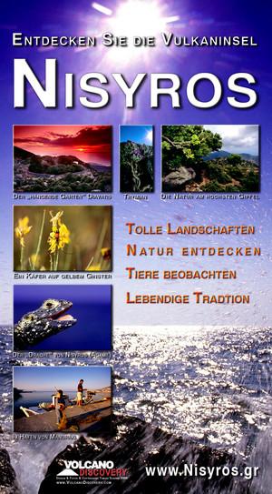 Das Poster von Nisyros, das Tobias Schorr mit seinen Fotos für den Nisyros-Stand gestaltete.