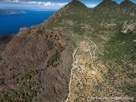 Luftbild des Lavadoms von Kameni Chora.