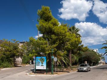 Die neue Touristenkarte Methanas am Stadteingang (September 2015)