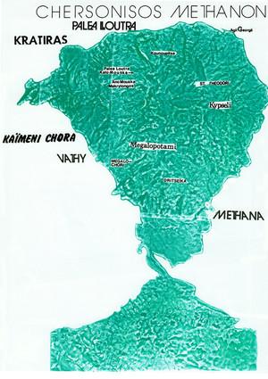 1994 kombinierte Tobias Schorr seinen Entwurf mit einem alten Luftbild von Methana