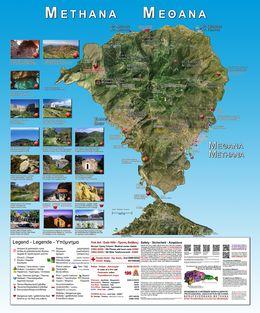 Diese informative Landkarte hat Tobias Schorr 2014-2015 für die Handelsvereine Methanas entworfen und seit Juni stehen sie am Hafenanleger und am Stadtanfang von Methana.