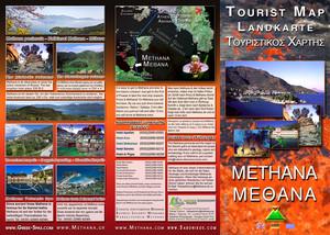 Το έντυπο του Τωβίας Σώρρος με έναν μικρό τουριστικό χάρτη και όλες τις πληροφορίες για τα Μέθανα. (c) Tobias Schorr