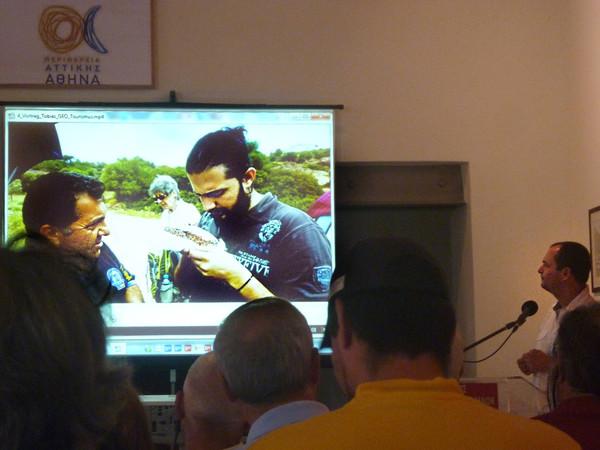 Tobias Schorr hielt einen Vortrag über die Chancen des Geotourismus in Griechenland. Foto (c) Dagmar Tsirika 2016