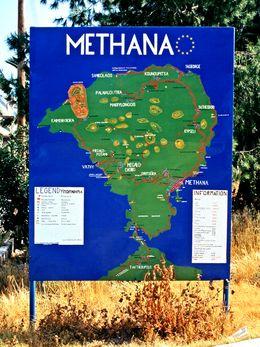 Die Touristenkarte am Eingang zur Stadt Methana (c)Tobias Schorr 1994