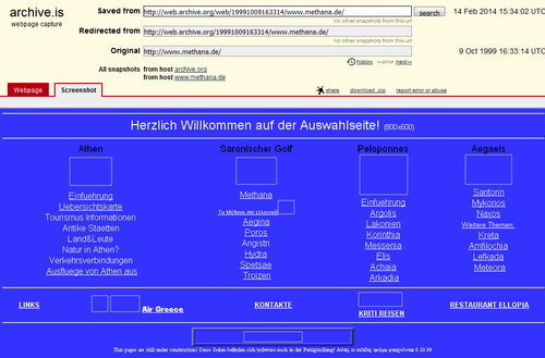 Screenshot of the first Methana website in 1999 by (c) Tobias Schorr